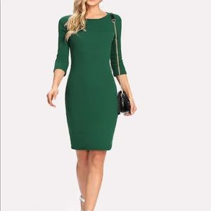Dresses & Skirts - Solid green Bodycon Dress Work Large Look
